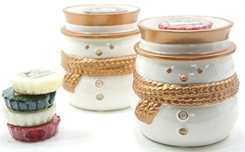 2x Offizielle Yankee Candle Jackson Frost Weiß Schneemann Wax Melt Wärmer Brenner gehören 6x Sortiert Weihnachten Festive Season Tarts