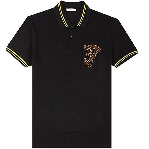 Versace Kollektion halb Medusa Poloshirt schwarz & gelb Black Meduim