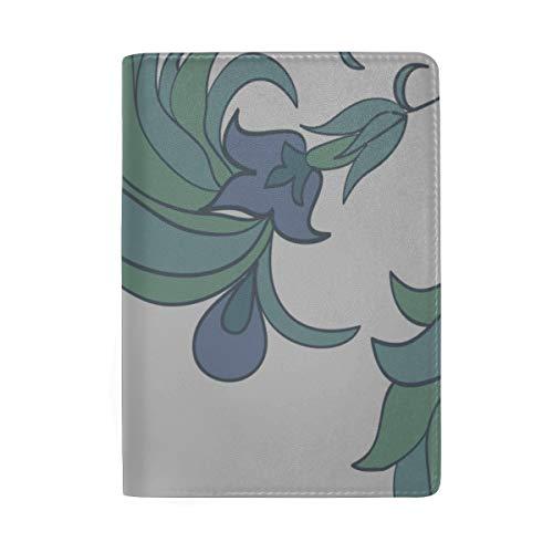 Blau-lila Pfingstrose Blocking Print Passinhabers Hülle Reisegepäck Passport Wallet Kartenhalter Aus Leder Für Männer Frauen Kinder Familie -