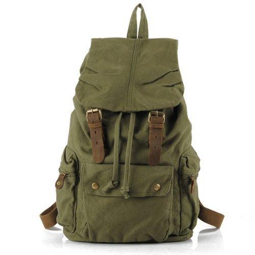 S.C.Cotten Neu Herren Damen Vintage Canvas Leder(nur Strap) Rucksack für Outdoor Sports (Grün) -