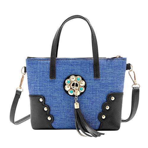 LILIGOD Quaste Einkaufstasche Handtasche Party-Tasche Denim Paket Frauen Messenger Bag Women Canvas Tassel Hit Color Shoulder Bags Blaue Kette Band Retro Citytasche Handbags Clutches