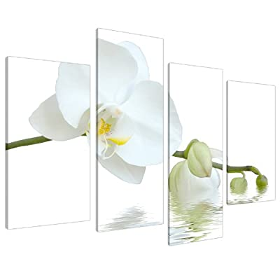 Large White Orchids Green Canvas Wall Art Pictures Set Prints XL 4134 - cheap UK canvas shop.