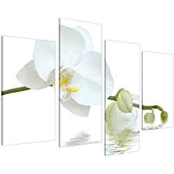 Large White Orchids Green Canvas Wall Art Pictures Set Prints XL 4134 by Wallfillers