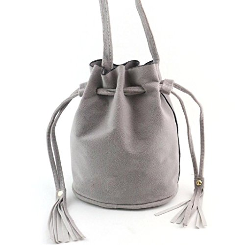 kingko® Frauen-Retro- Troddel-Dekor-Drawstring-Handtaschen-Schulter-Beutel-große Tote-Damen-Geldbeutel (Grau) (Handtasche Troddel Drawstring)
