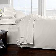 Classic Linens 100% algodón egipcio 200 hilos sábana bajera, blanco, doble