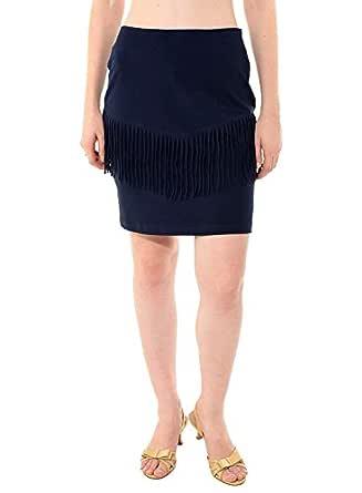 BESIVA Women's Blue Fringe Solid Skirt