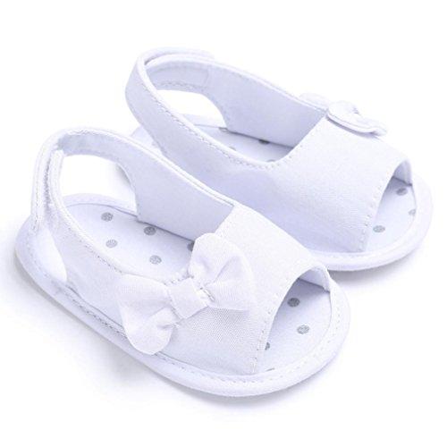 Culater® I pattini di prewalker della culla della scarpa da bowknot solare del bambino appena nato della ragazza del bambino Bianca
