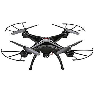 Syma X5HC 2.4GHz RC Drone with 2.0 MP HD Camera Headless Mode Remote Control Quadcopter Helicopter Gift Toys - Black(exclusive)
