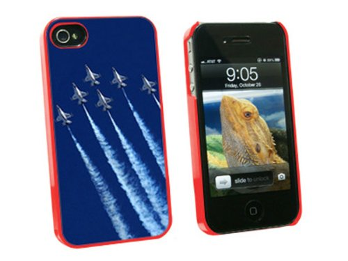 Graphics and More US Airforce Thunderbirds - Snap On Hard Protective Case for Apple iPhone 4 4S - Red - Carrying Case - Non-Retail Packaging - Red