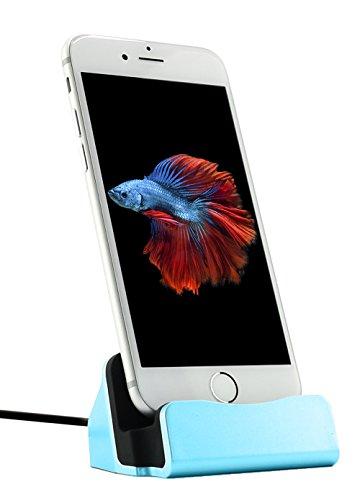 MyGadget iPhone Dockingstation Ladestation (inkl. 1m Kabel) Lightning Dock Ladegerät für Apple Handy 7, 7 Plus, 6s, 6s Plus, 6, 5, 5s, 5c, SE, iPod nano 7, 5G in Blau