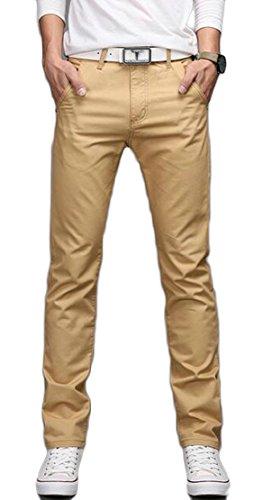 CCK-UK-DE Men's Straight Leg Solid Plain-Front Casual Pants Khaki 31 (Khaki Front Pant Plain)