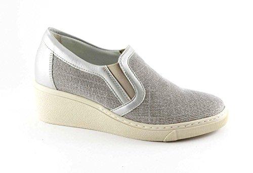 Grünland CURI SC3358 slip beige chaussures de platine sur cale paillettes Beige