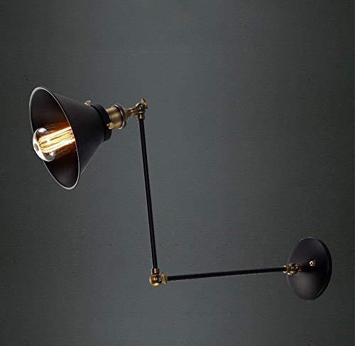 Oudan Retro-Stil Lampe Eisen Körper von Eisen Lampenschirm von Retractable Dach Lange Arm Wandleuchte E27 (Farbe : -, Größe : -) -
