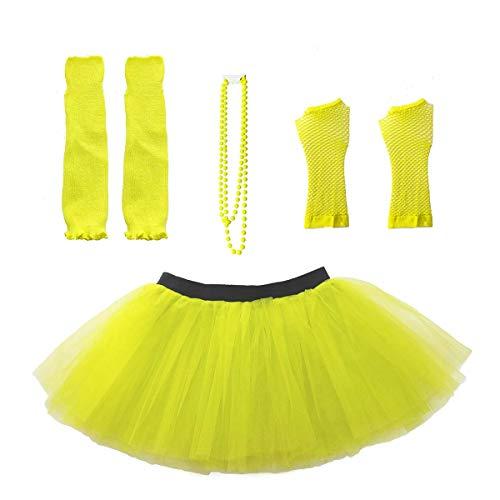 Der Dress 80er Kostüm Up Jahre - Dreamworldeu Damen 80er Jahre Kostüm Zubehör Set inklusive Halskette Beinlinge Fischnetz Handschuhe Erwachsener Tutu Rock