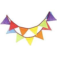 Guirlande de Fanions Bannière Banderole en Coton 12 Drapeau Triangle Double Face Décor pour Noël Halloween Fête D'anniversaire Mariage et Cérémonie Party