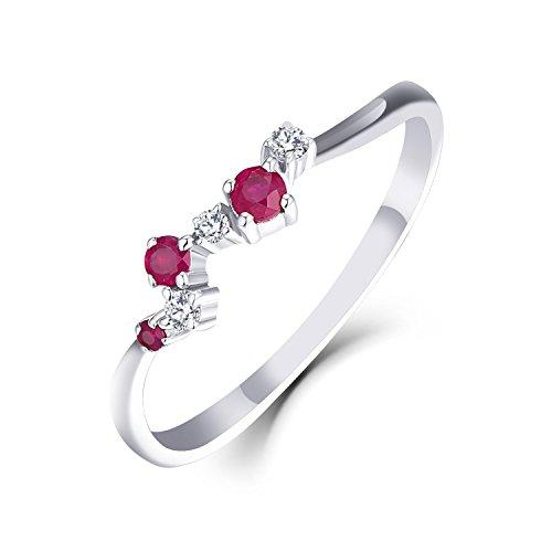 Ringe Gold Damen Starchenie Diamant Ringe Geschenk Hochzeit Ring Rubin Weißgold (9K/10K/14K) (9 Karat (375) Weißgold, 59 (18.8))