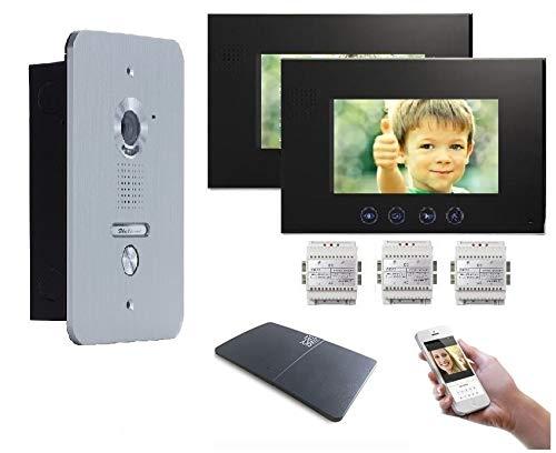 4 Draht Türsprechanlage Gegensprechanlage Video Bildspeicher mit 2x7\'\' LCD Monitor WLAN Schnittstelle