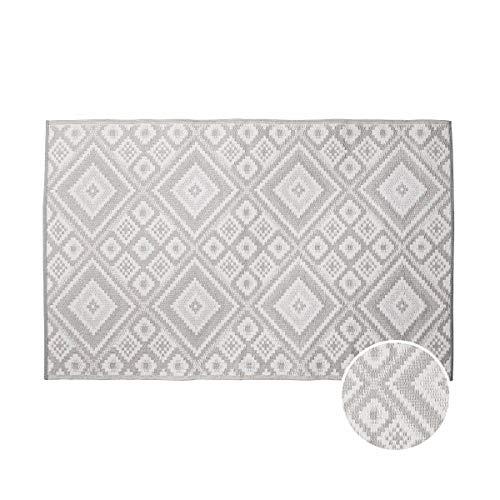 Outdoor Teppich Ethno 180x120 cm in Grau-Weiß - Flachgewebe Teppich für Innen- und Außenbereich ()