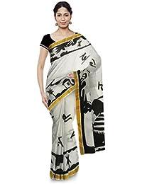 Poushali Hand Painted Handloom Cotton Saree (White & Black)