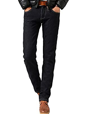 Menschwear Men's Stretch Fleece Lined Winter Jeans Slim Fit Straight legs