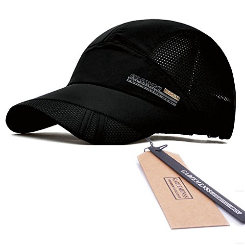 GADIEMENSS Quick Drying Breathable Running Outdoor Hat Cap Only 2 Ounces (Black)