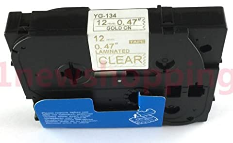 Compatible For Brother P-Touch Laminated TZe TZ Label Tape Cartridge 12mmx8m (TZ-134 Tze-134 Gold on