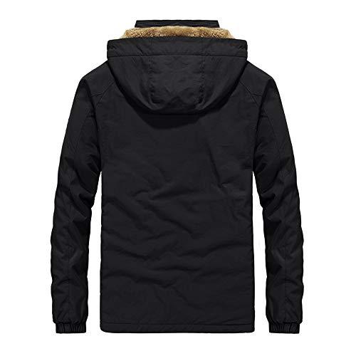 NPRADLA 2018 Jacke Herren Herbst Winter Einfarbig Tasche Öffnen Sie einen Hut Zipper Hooded Top(2XL/46,Schwarz)