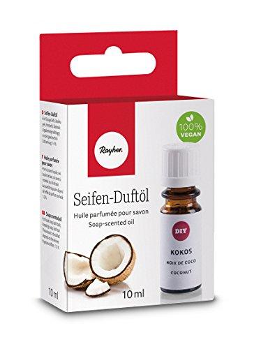 Rayher 34247000 Hobby Seifen Duftöl (100% vegan, in Glasflasche mit Kindersicherheitsverschluss, hautpflegende und wohltuende Wirkung) Kokos, 10 ml