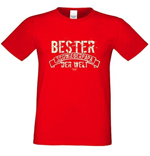 Herren Sprüche-T-Shirt :-: Bester Schwiegerpapa der Welt :-: als Geburtstagsgeschenk Vatertagsgeschenk Weihnachtsgeschenk :-: auch in Übergrößen :-: mit Urkunde :-: Farbe: rot Rot