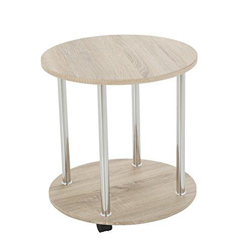 Runder Rolltisch in Eichenoptik -