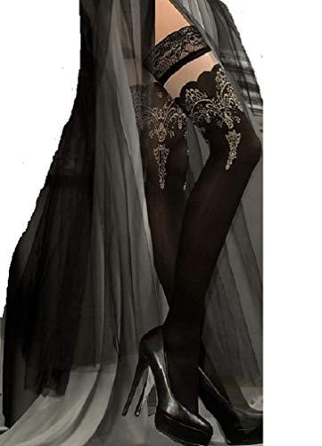 Schöne schwarze Halb durchsichtig halterlose Strümpfe mit gestickten Tops von 220 Ballerina, Schwarz, Large/X-Large