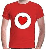 buXsbaum® Herren T-Shirt Glücksbärchi Herz Kostüm Fasching   XXL, Rot