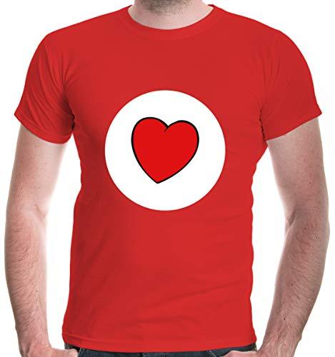 buXsbaum® Herren T-Shirt Glücksbärchi Herz Kostüm Fasching | XL, Rot (Rot Glücksbärchi Kostüm)