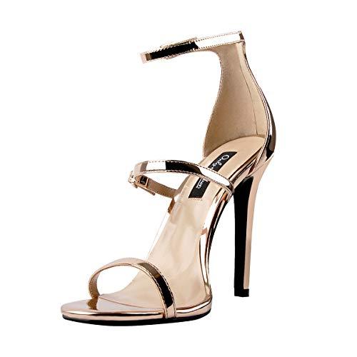Onlymaker Damen Sandaletten High Heels Stiletto Open Toe Sandalen Knöchel Schnalle Riemchensandalen Champagner 38 EU Gold Stiletto Heel