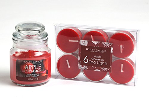 Hosley Apple Cinnamon Highly Fragranced, 2.65 Oz wax, Jar Candle with Pack...