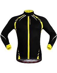 """West Biking Veste Maillot coupe-vent de cyclisme unisexe à manches longues, femme Fille Homme Enfant, Noir/jaune, Tag XL(H:5'9""""-5'11"""",W:165-185lbs)"""