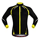 West Biking Veste Maillot coupe-vent de cyclisme unisexe à manches longues, femme Fille Homme Enfant, Noir/jaune, Tag L(H:5'7'-5'9',W:141-165lbs)