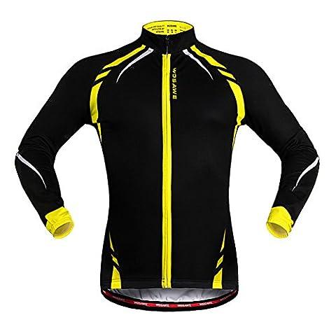West Biking Veste Maillot coupe-vent de cyclisme unisexe à manches longues, femme Fille Homme Enfant, Noir/jaune, Tag