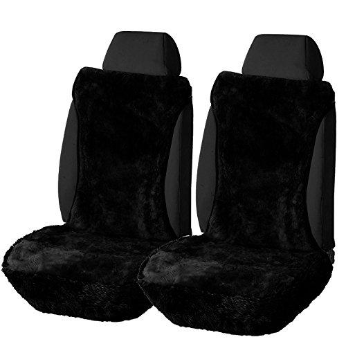 WOLTU AS7336sz-2 universal Lammfellbezug Auto Sitzbezug Echtlammfell Vollbezug Vordersitzbezug, feste Wolle, 2er Set, ca. 1.8 cm dicke, Schwarz (Wolle Combo)