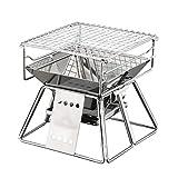FELICIGG Griglia in Acciaio Inox Ultra-Piccolo Griglia per Barbecue all'aperto da 1~2 Persone Famiglia Griglia in Carbone di Legna (Size : 19 * 19 * 15/19cm)