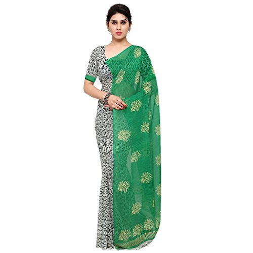 Kashvi Sarees Faux Georgette Green & Multi Color Printed Saree With Blouse Piece ( 1198_3 )  available at amazon for Rs.249