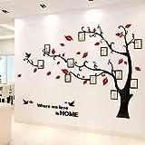 Acrylwand befestigte Sofahintergrundfoto 3D dreidimensionaler Baum, 011 rote Blätter schwarze Niederlassungen, Bäume rechts,