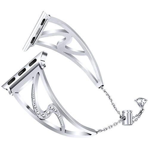 Knowin Uhrenarmband Ersatz Diamant Armband Ersatz Mädchenarmband für Apple Watch-Serie Mode Damen Ersatzband Schnellwechsel Schön Volles Diamantarmband aus Metall Watch Straps(40mm)