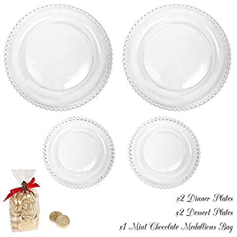 Bella Perle Dinner Party for Two - Set of Two Dinner Plates and Two Dessert Plates - Gift Set with Large 175g Luxury Mint Chocolate Medallion Package - High Quality Luxury Glassware with Beaded Edge - As Used By Nigella Lawson - Perfect for Christmas/Boxing Day/New Years Dinner Party Setting for Two -