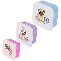 Set da 3 scatole scatoline portapranzo porta pranzo per bambini design Cane Cagnolino Carlino