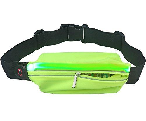 Tagvo LED laufendes Gurt Taillen Beutel, hohes sichtbares USB nachladbares LED Licht mit reflektierendem Streifen Schweiß Beweis Gurt Fanny Satz, elastische Größe für die meisten Frauen Männer (Blau)