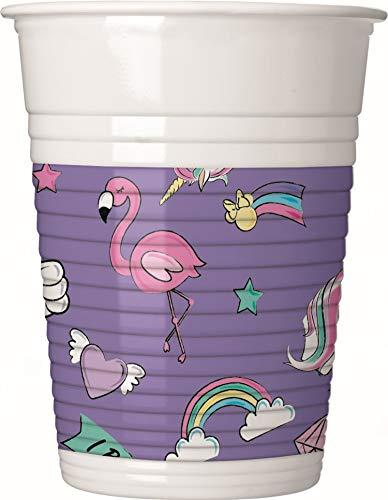 Procos 90329 Partybecher Disney Minnie Mouse mit Einhorn, Unicorn aus Plastik, 8 Stück, lila, weiß