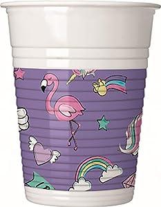 PROCOS 90329 - Vasos de plástico para Fiestas, diseño de Minnie Mouse con Unicornio, 8 Unidades, Color Lila y Blanco