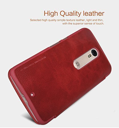 SC Nillkin QIN Series Luxury Royal Leather Bumper Flip Case Cover Wallet for Motorola MOTO X Style (XT1570) - RED