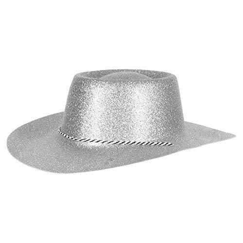 Ciffre Texas Westernhut Party Hut Sheriff Fasching Masken Perücke Maske - Cowboyhut Glitzer Look Silber 10 er Set